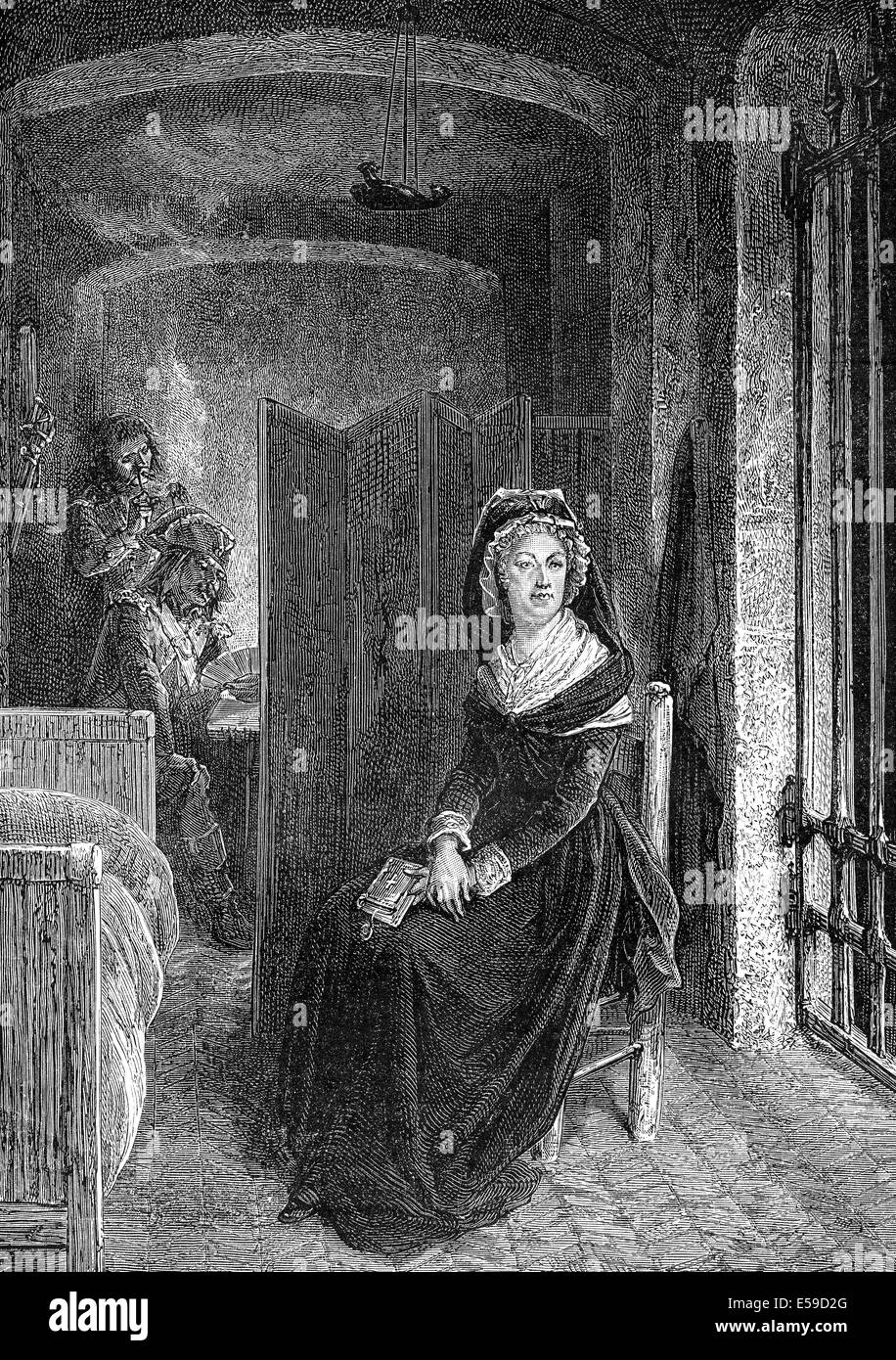 Marie Antoinette, Maria Antonia Josepha or Josephina Johanna, 1755 - 1793, Queen of France and Navarre, in a prison - Stock Image