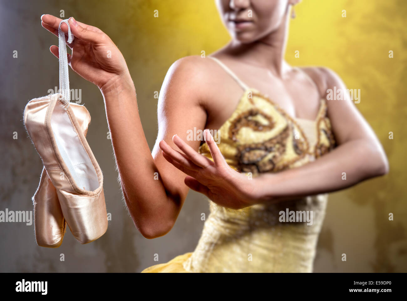 Ballerina with pointe shoes, selective focus - Stock Image