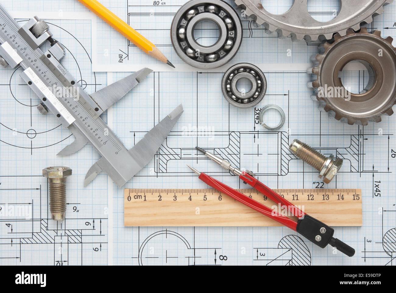 Mechanical Drawing Tools Bearing Stock Photos & Mechanical Drawing ...