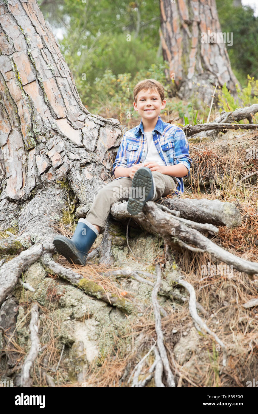 Boy sitting on tree roots in forest - Stock Image