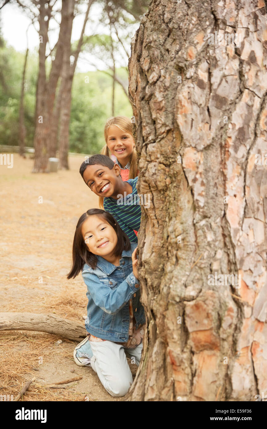 Children peeking out from behind tree in forest - Stock Image