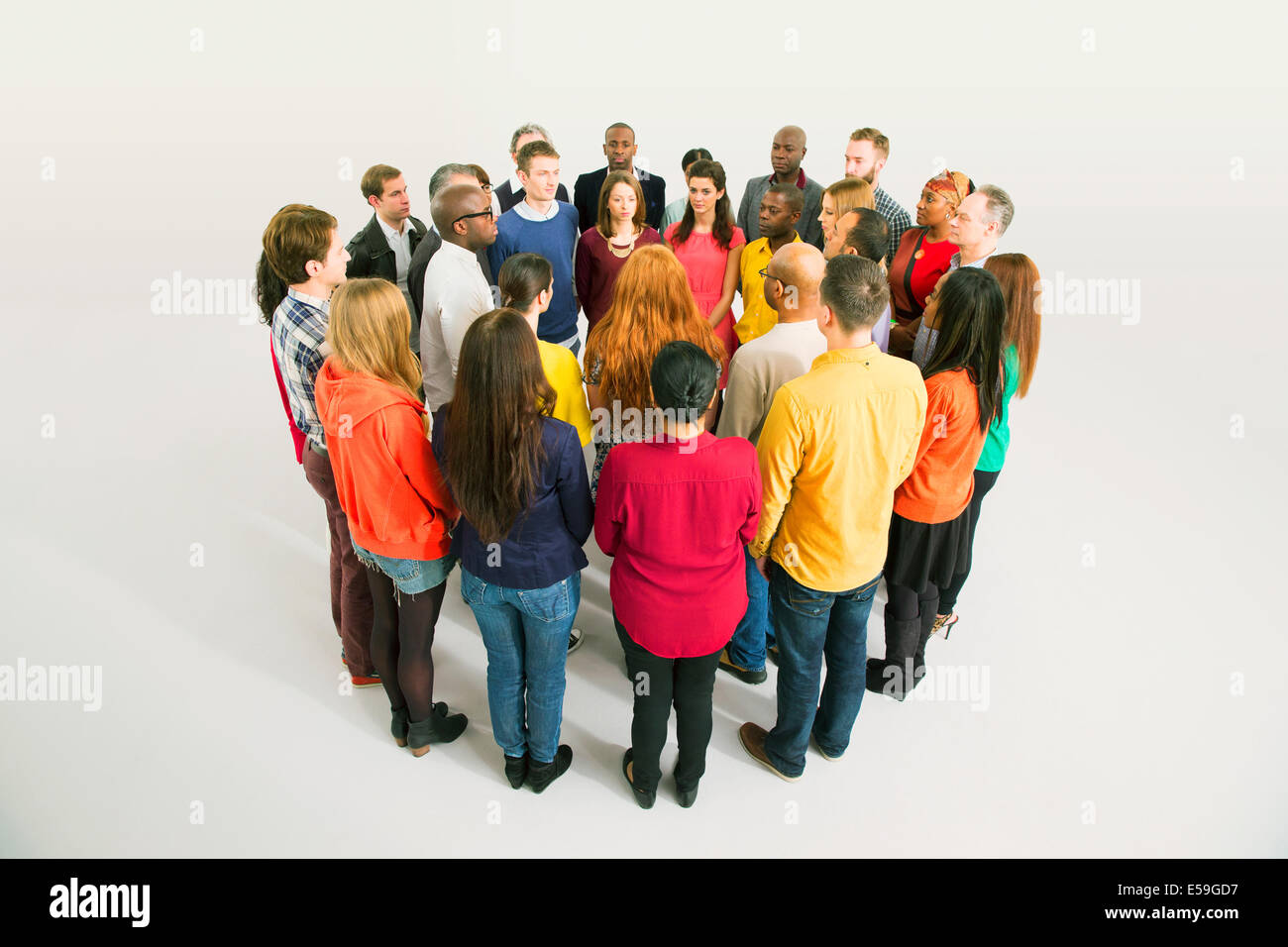 Diverse group in circle - Stock Image
