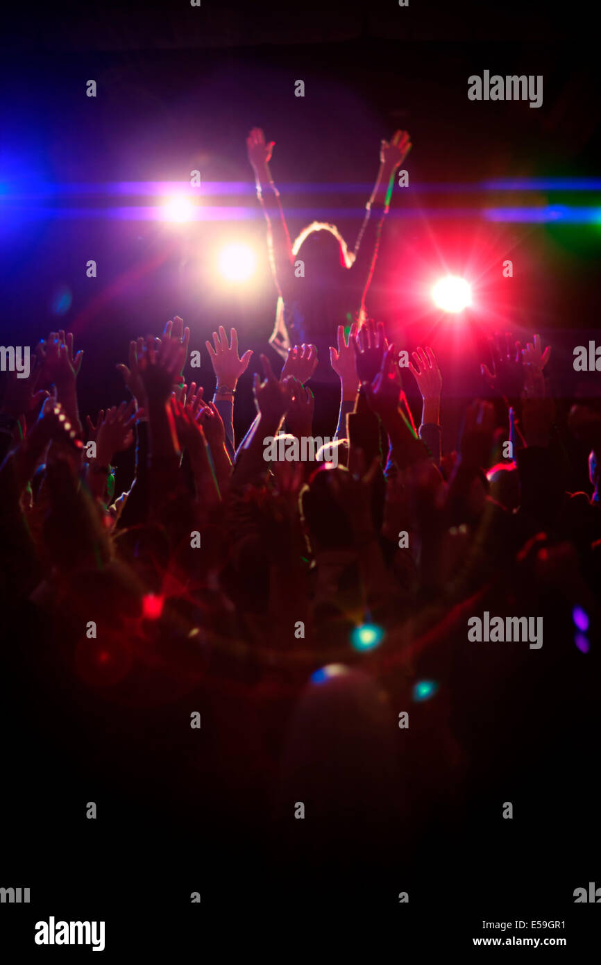 Crowd enjoying concert - Stock Image