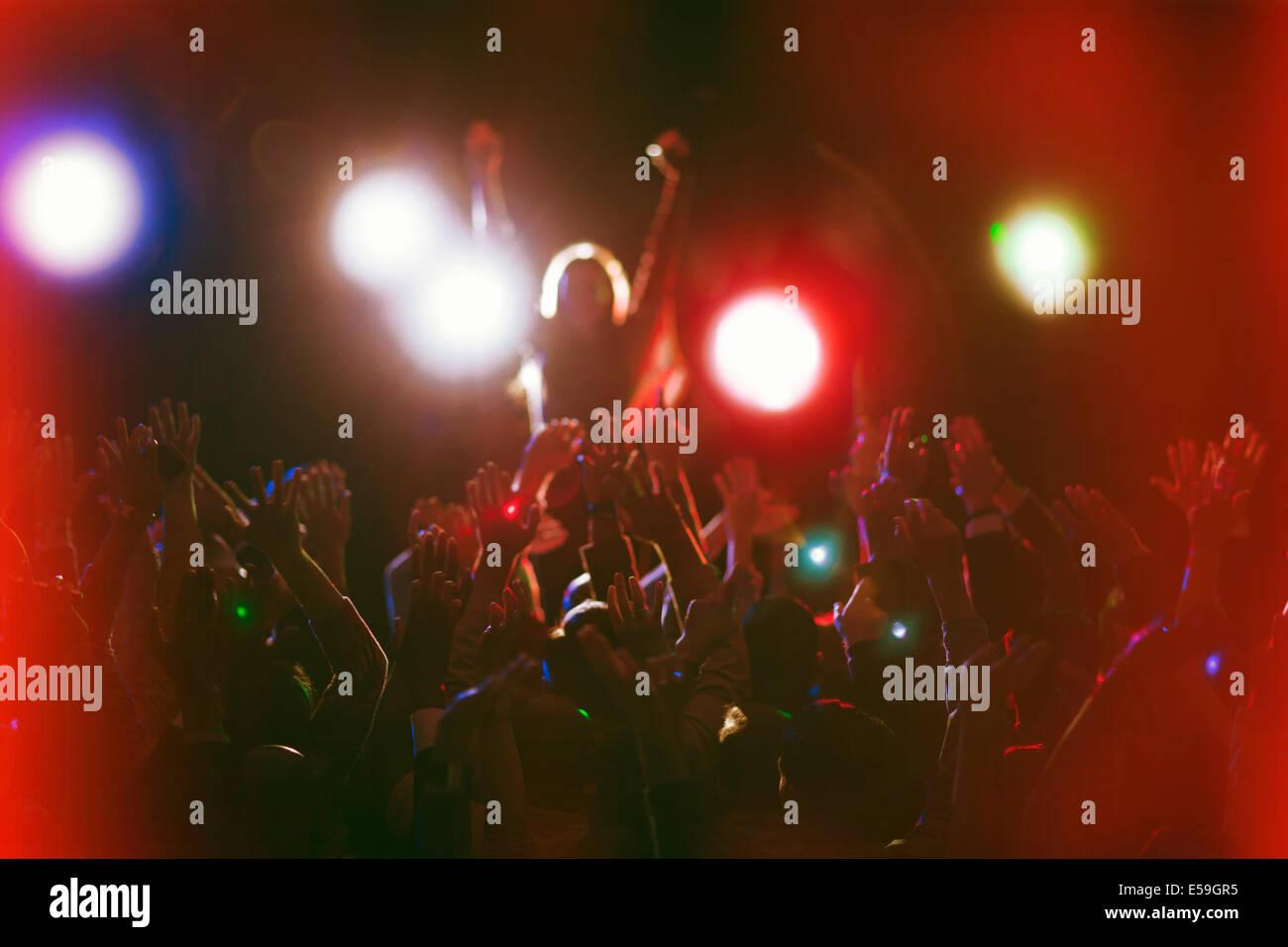 Audience enjoying concert - Stock Image