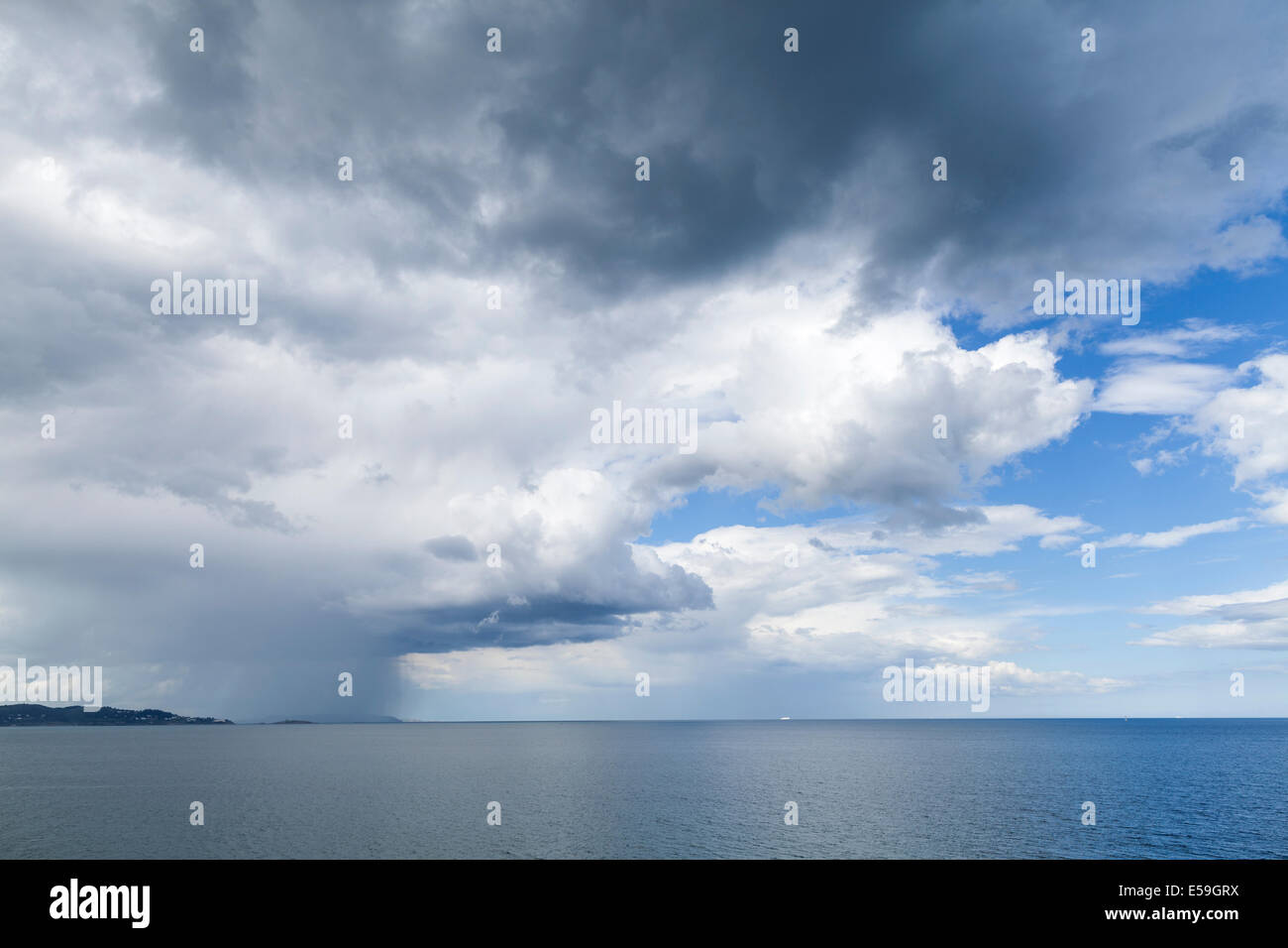 Rain clouds over the east coast of Ireland seen from Bray, County Wicklow, Ireland. Stock Photo