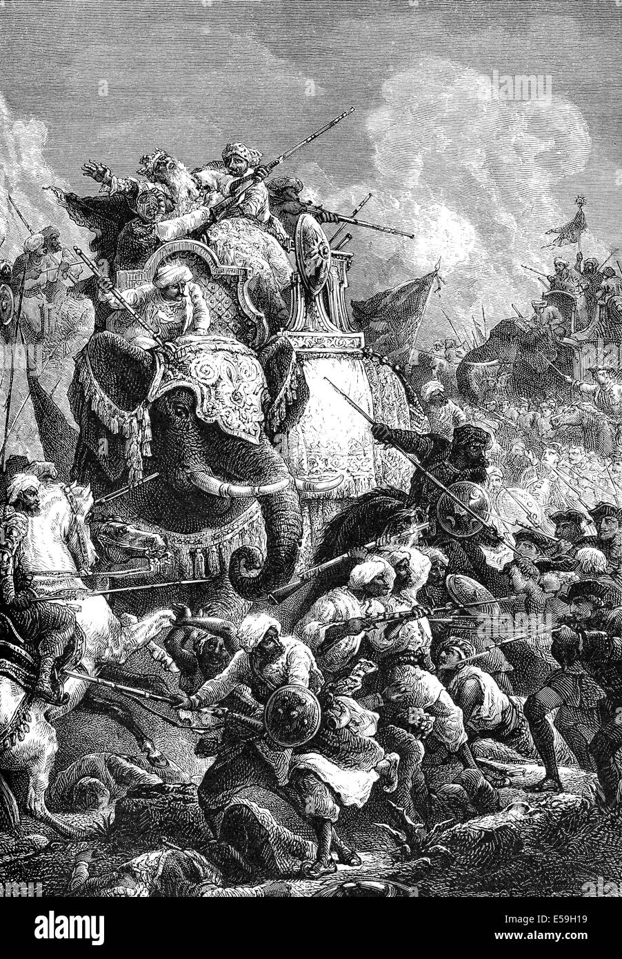 Death of the Nawab Anwaruddin Muhammed Khan, 1672-1749, in a battle against the French, - Stock Image