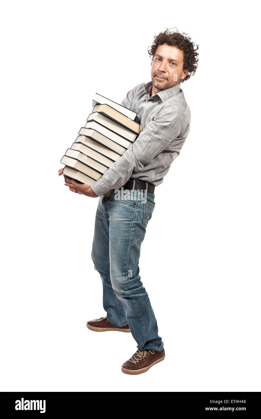 man with book isolated on white background - Stock Image