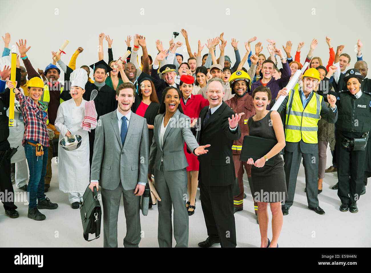 Portrait of enthusiastic workforce - Stock Image