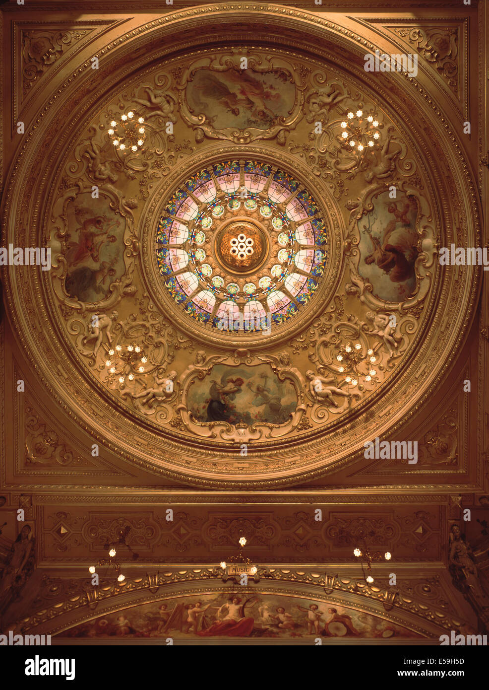 The domed ceiling of the Gaiety Theatre designed by Architect Frank Matcham in Douglas in the Isle of Man. - Stock Image