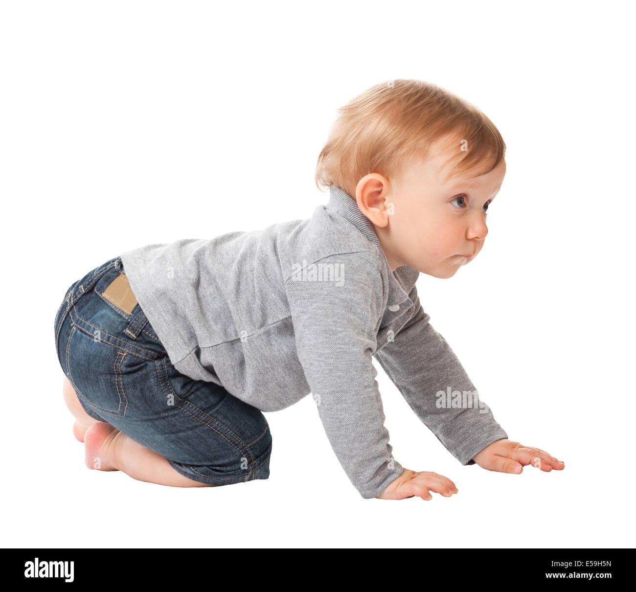 portrait of child crawl on white background - Stock Image