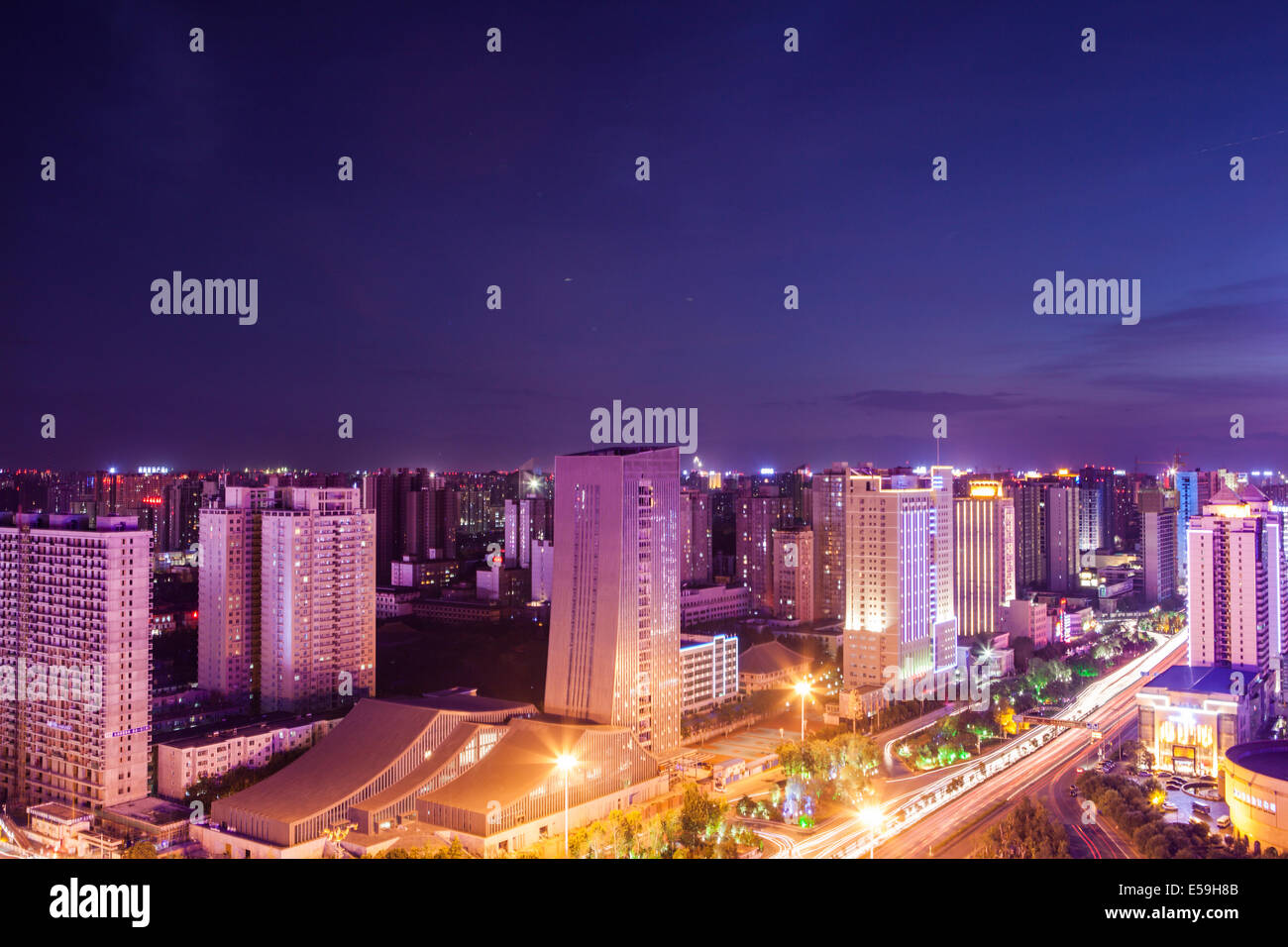 cityscape at night in Xi'an - Stock Image