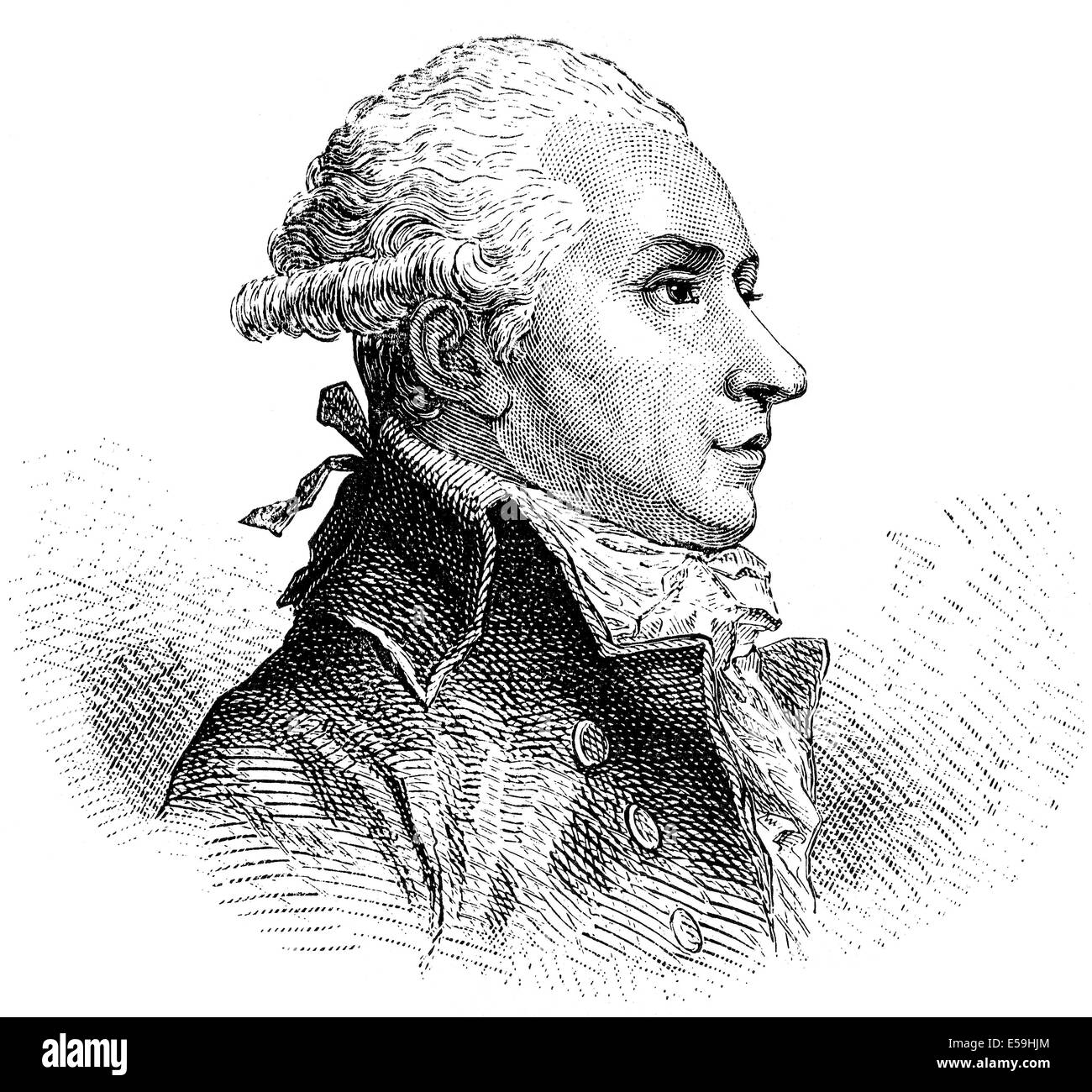Pierre Victor, baron Malouet, 1740-1814, a French slave-owner, conservative publicist and monarchist politician - Stock Image