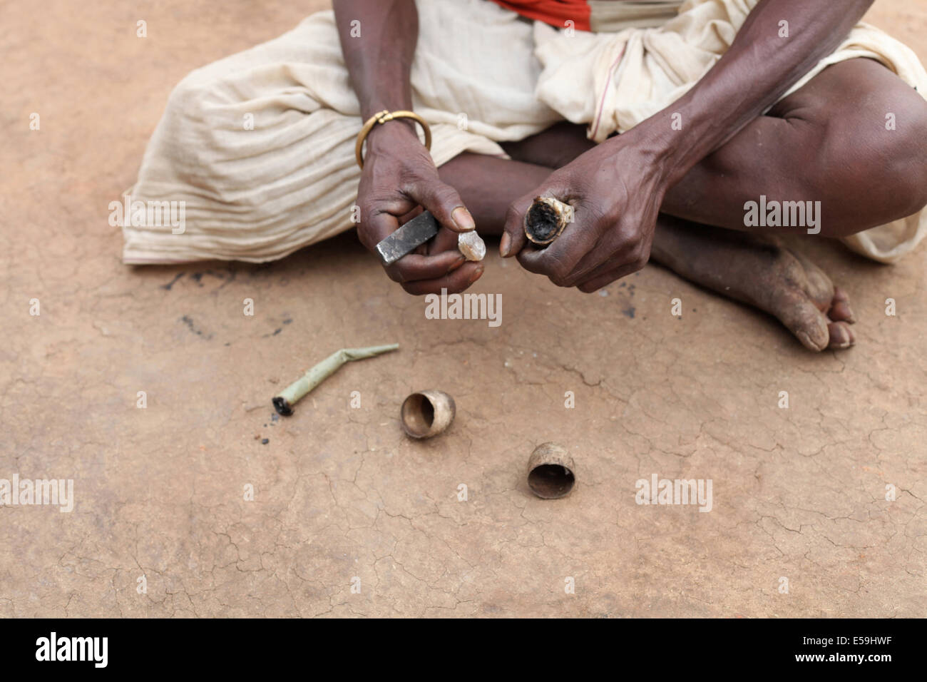 Chakmak, a traditional fire starter, Matal Village, Chattisgadh, India - Stock Image