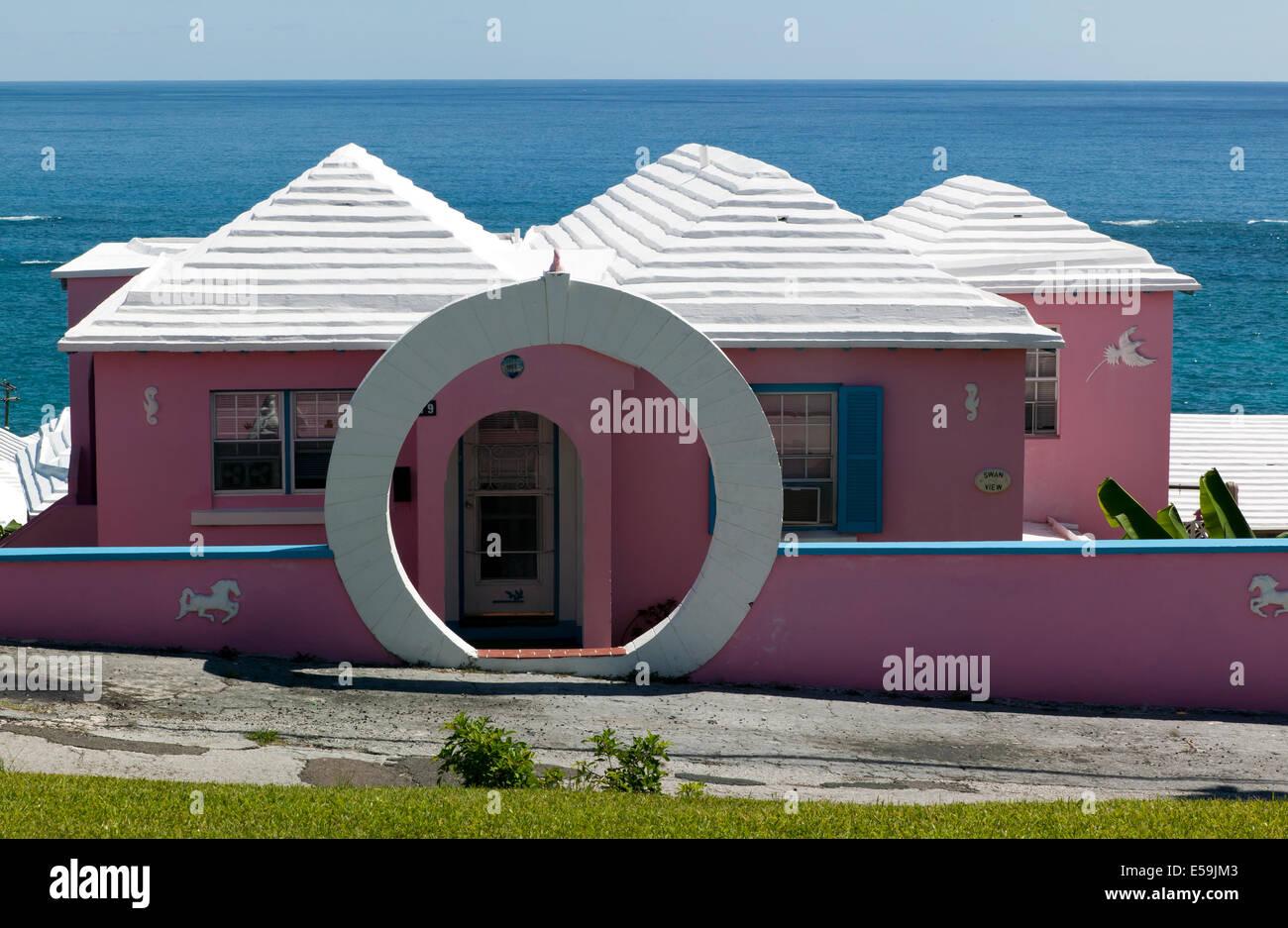 Close-up shot of a Bermudan house near St David's Lighthouse, St Davids Island, St George's Parish, Bermuda - Stock Image