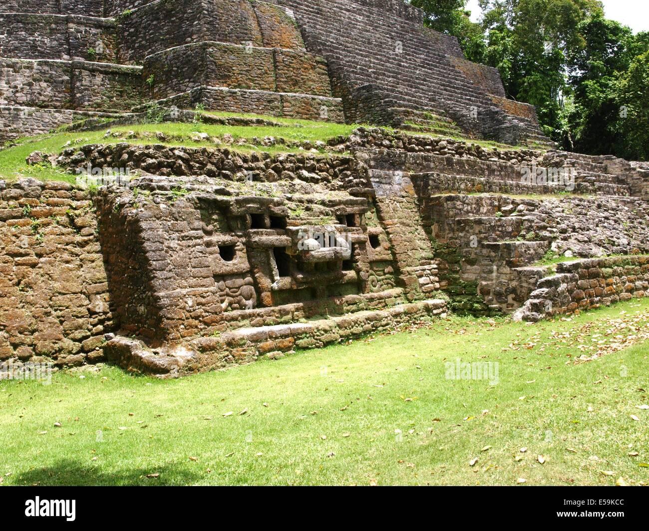 Jaguar head on the Jaguar Temple at Lamanai in Belize - Stock Image