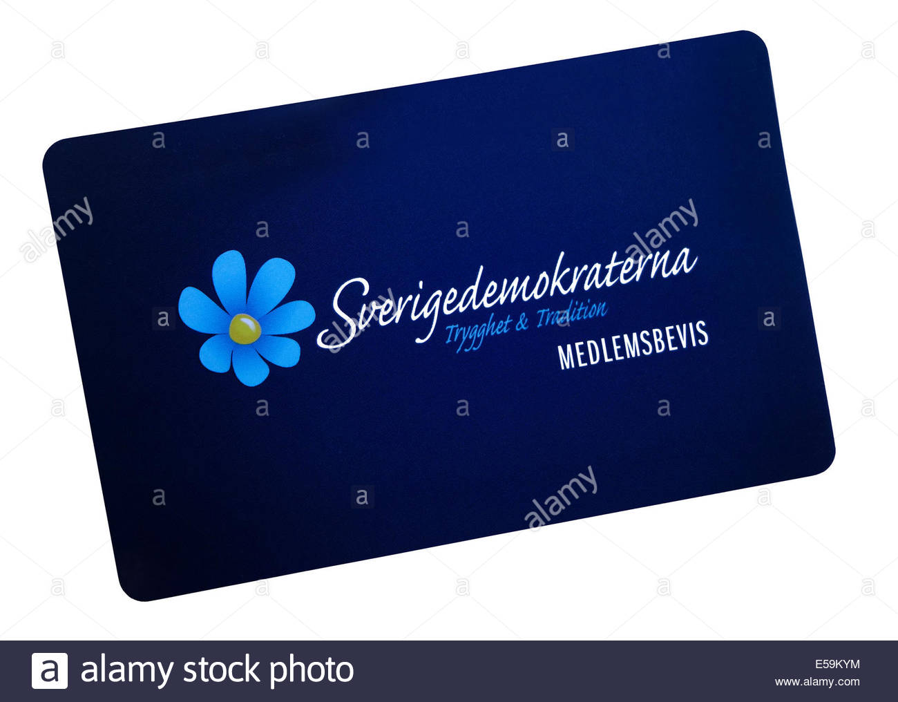 The Sweden Democrats or Swedish Democrats political party membership card front side. - Stock Image