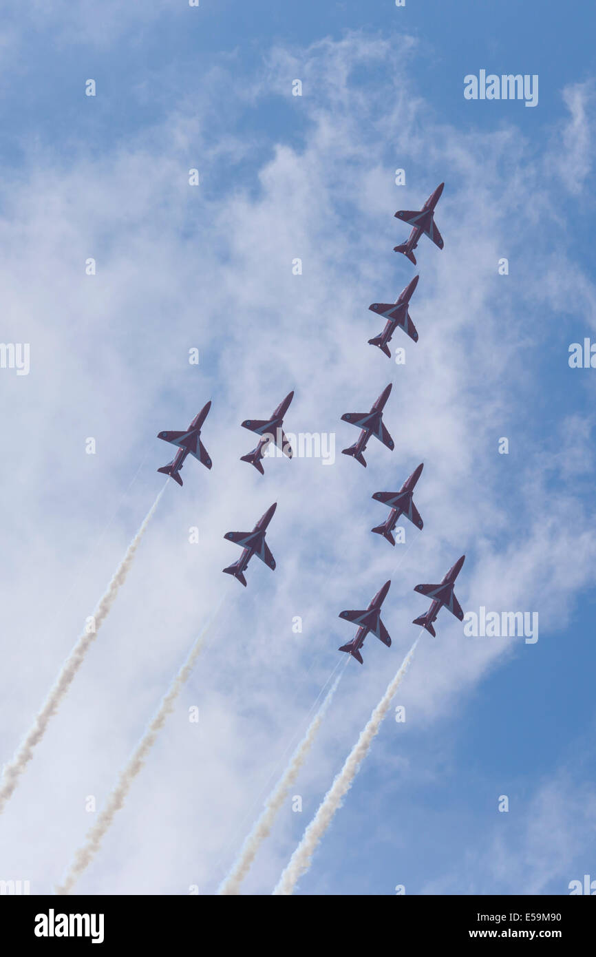 The Red Arrows at the 2014 Farnborough Air Show. - Stock Image