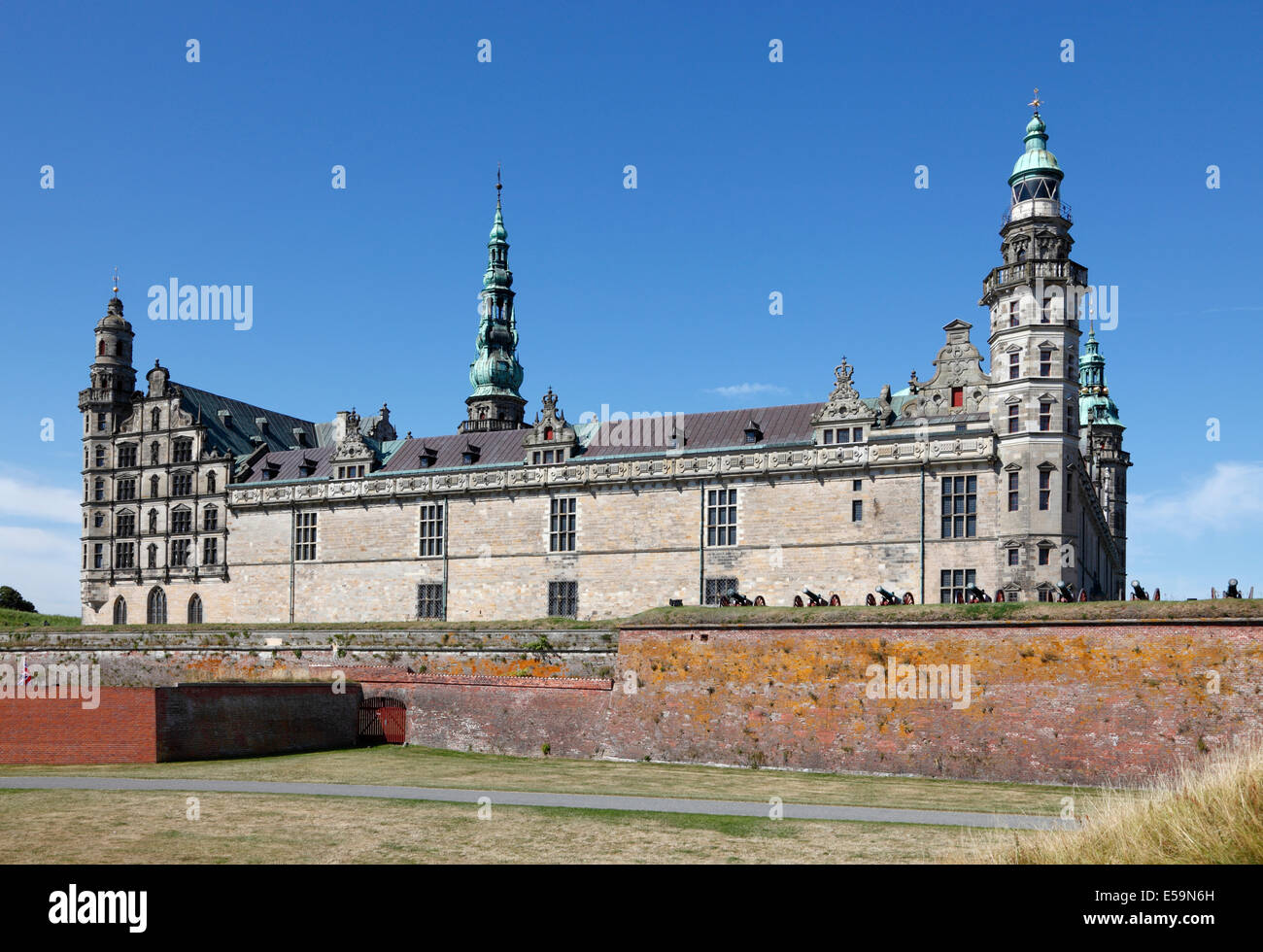 The  renaissance castle Kronborg in Elsinore (Helsingør), Denmark, seen from the beach on a sunny summer day. - Stock Image