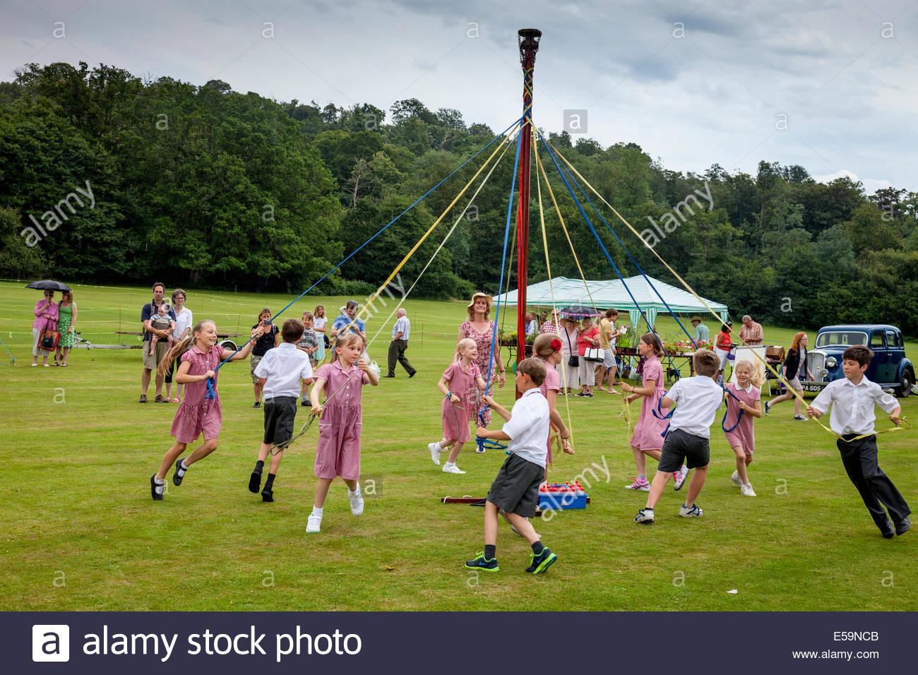 Maypole Dancing, Withyham Village Fete, Sussex, England - Stock Image