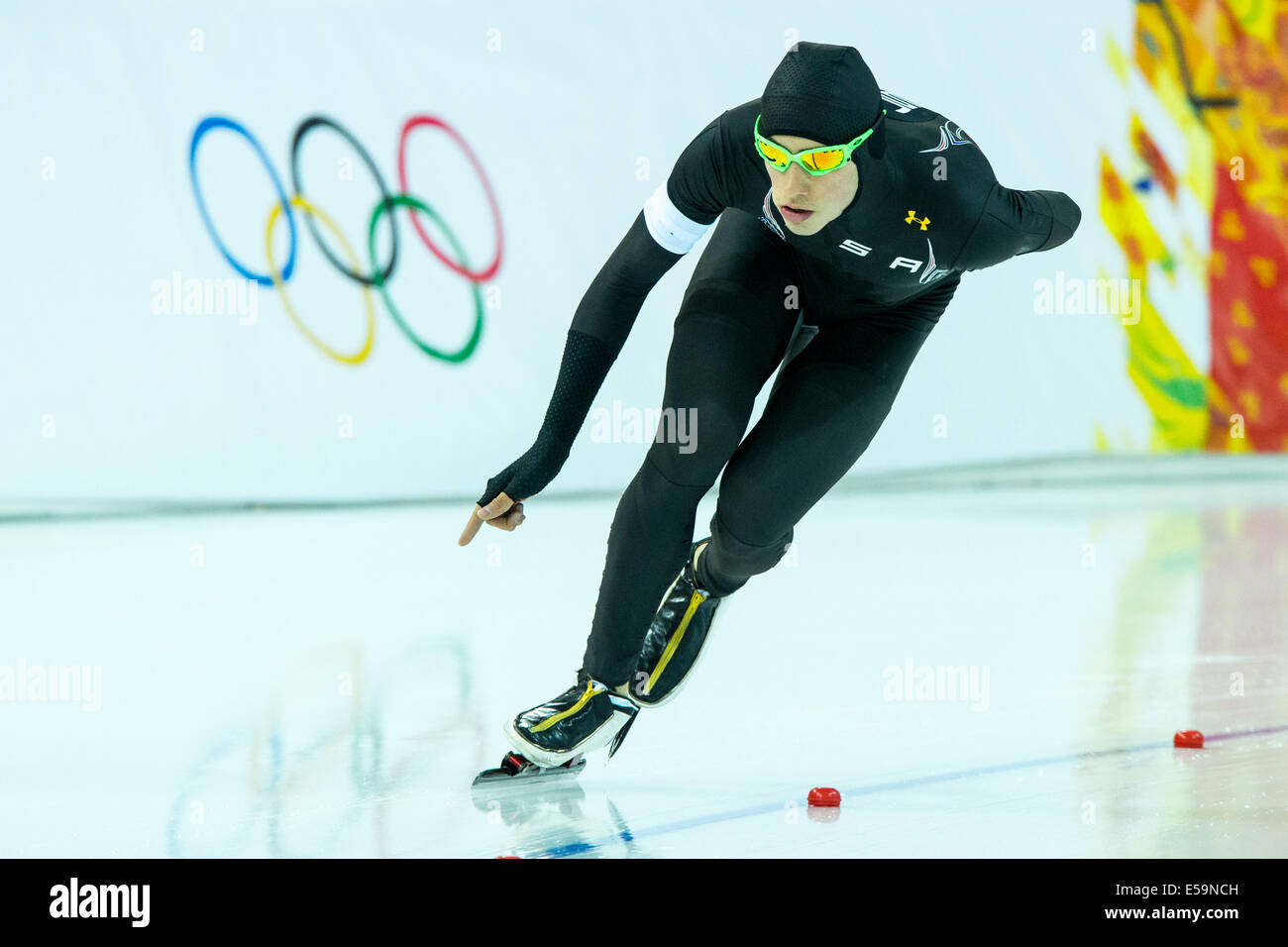 Emery Lehman (USA) competing in Men's 5000m Speed Skating at the Olympic Winter Games, Sochi 2014 - Stock Image