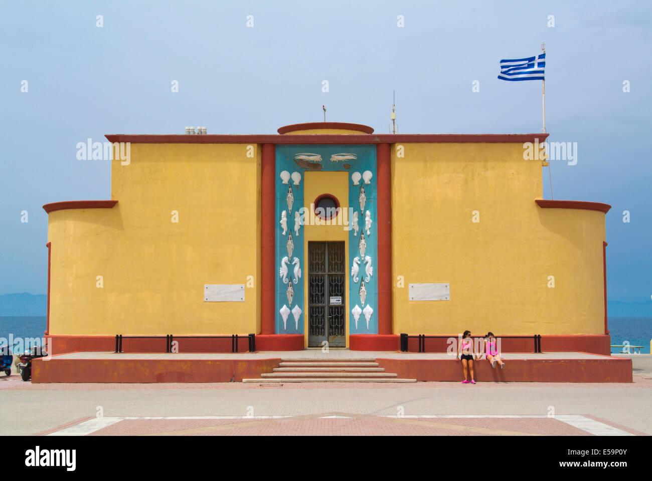 Aquarium and museum marine life, Rhodes town, Rhodes island, Dodecanese islands, South Aegean region, Greece, Europe - Stock Image