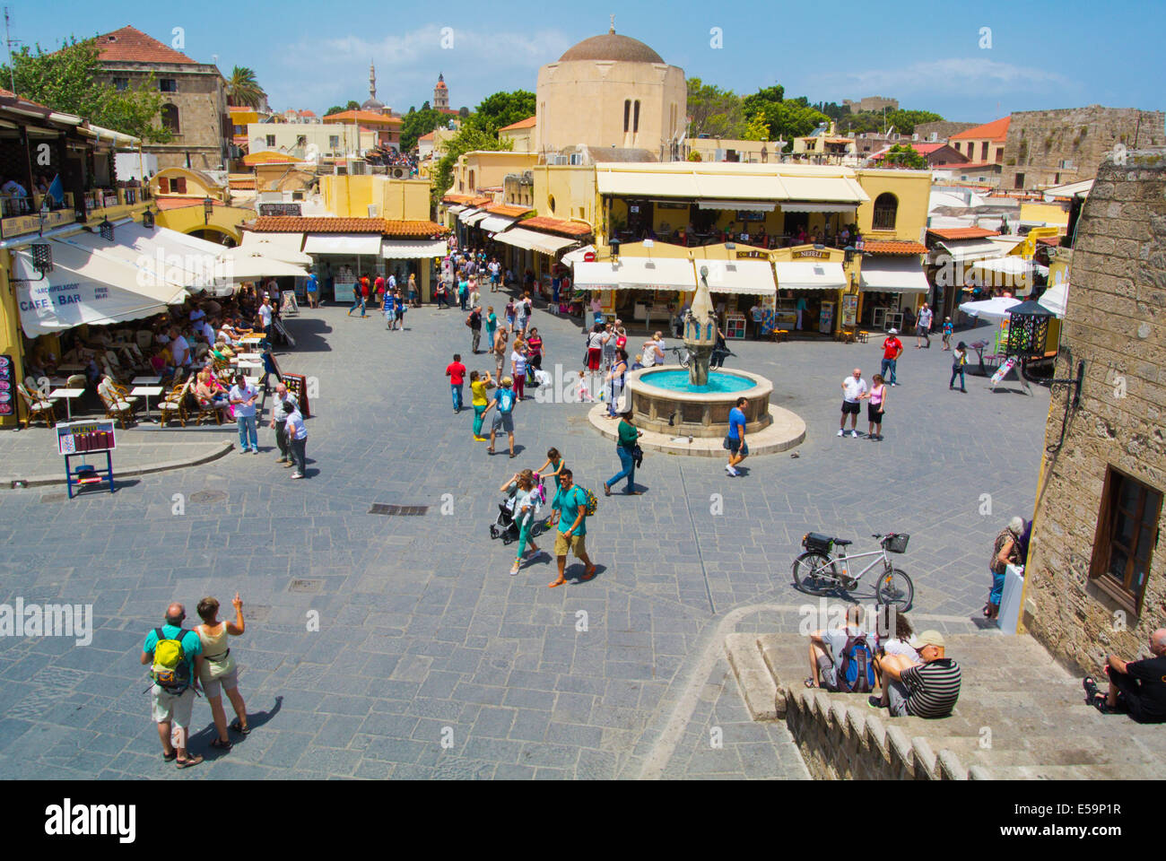 Hippocratous square, old town, Rhodes town, Rhodes island, Dodecanese islands, Greece, Europe - Stock Image