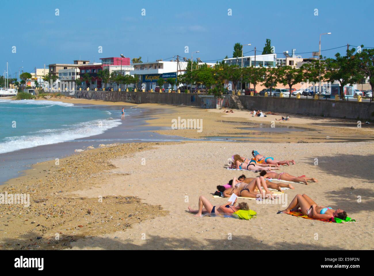 Akandia beach, Rhodes town, Rhodes island, Dodecanese islands, Greece, Europe - Stock Image
