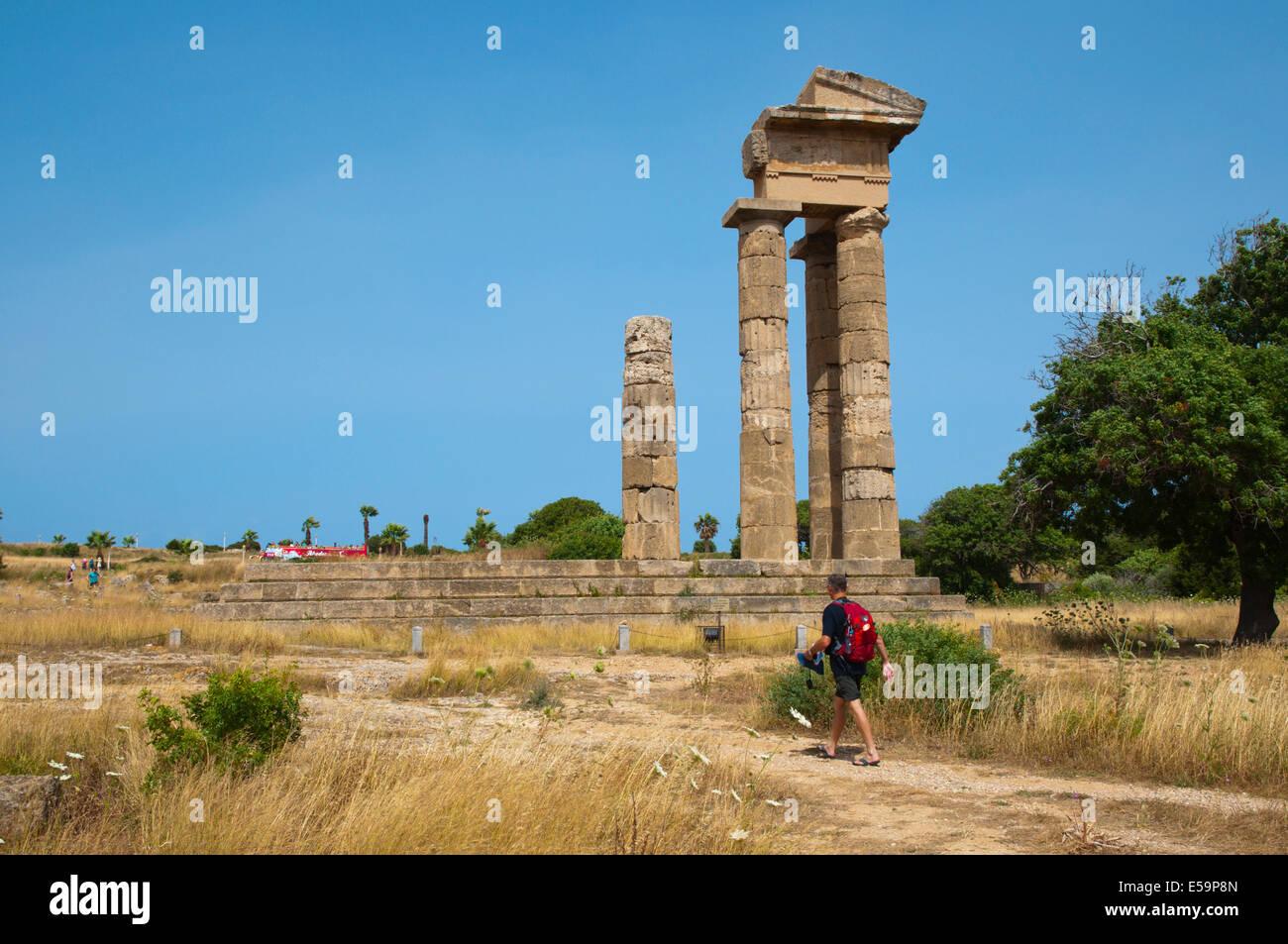 Temple of Apollo, Acropolis Monte Smith, Rhodes town, Rhodes island, Dodecanese, Greece, Europe - Stock Image