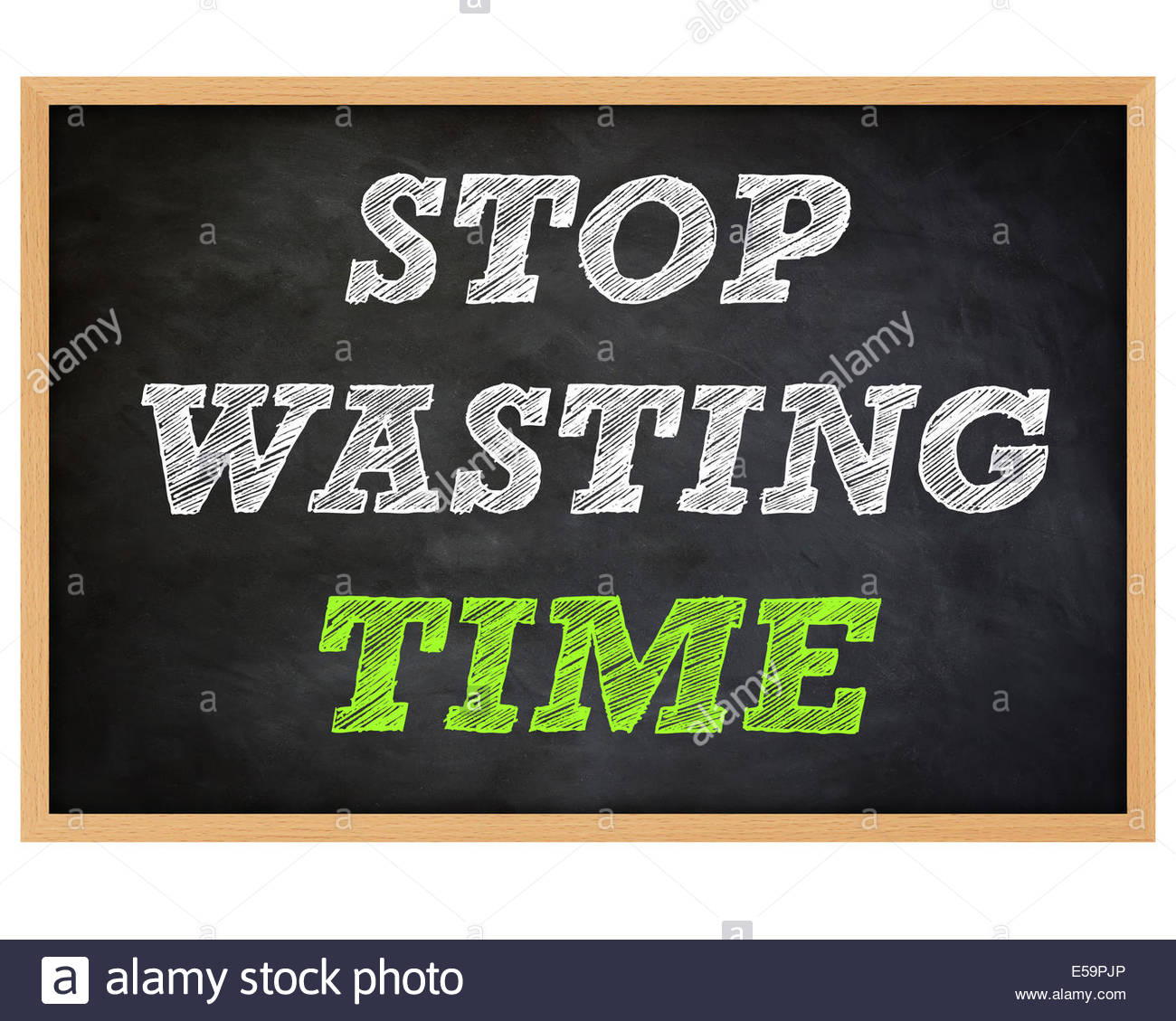TIME WASTING - handwritten concept chalkboard - Stock Image