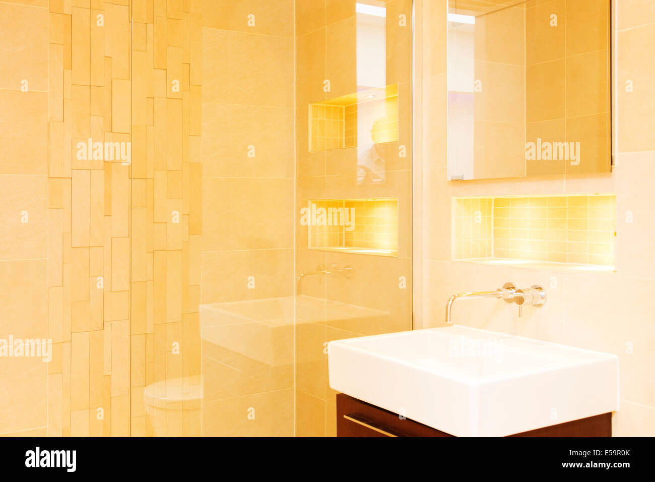 Shower and sink in modern bathroom Stock Photo