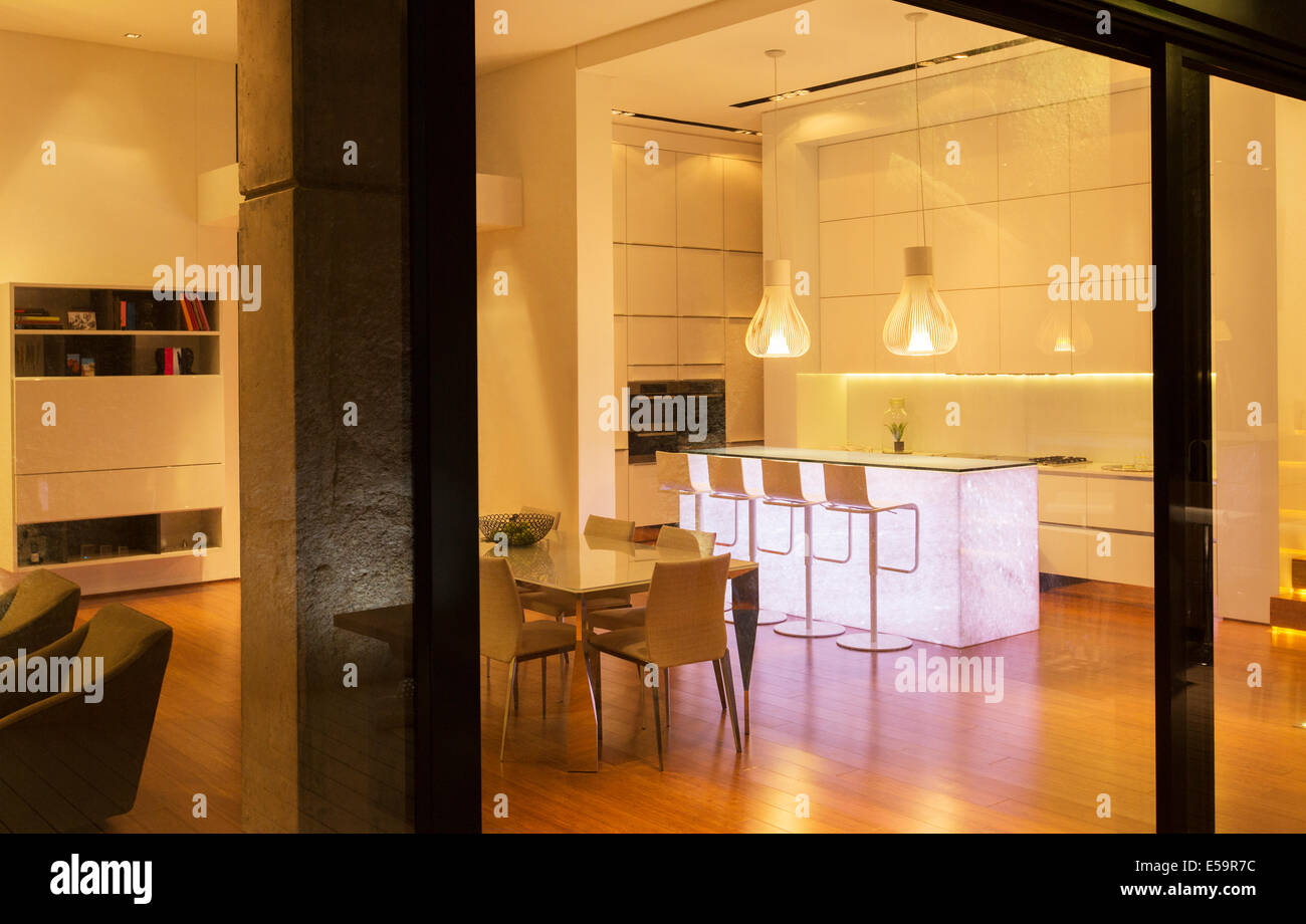 Kitchen and dining area in modern house Stock Photo