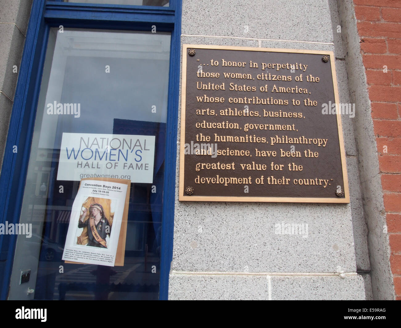 Placard at entrance to National Women's Hall of Fame, Seneca Falls, NY, USA, June 14, 2014, © Katharine Andriotis Stock Photo