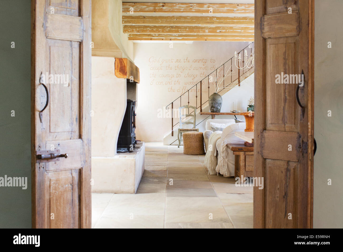 Living room in rustic house Stock Photo