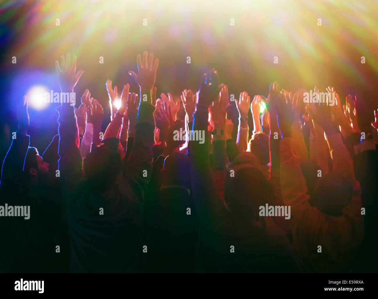 Crowd enjoying concert - Stock Image
