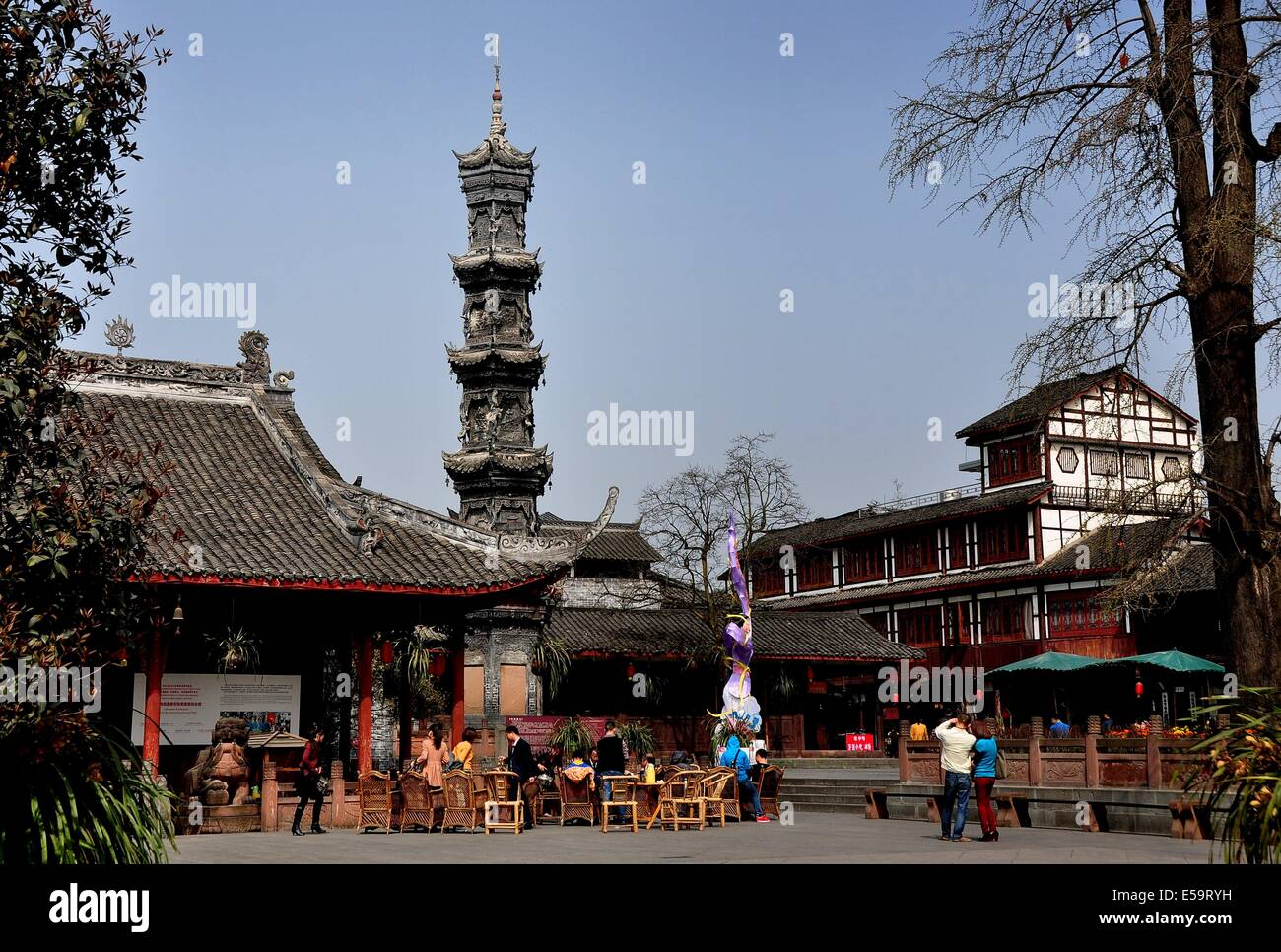 JIE ZI ANCIENT TOWN (SICHUAN), CHINA: The centuries-old five story 'Wastepaper Library' column inscribed - Stock Image