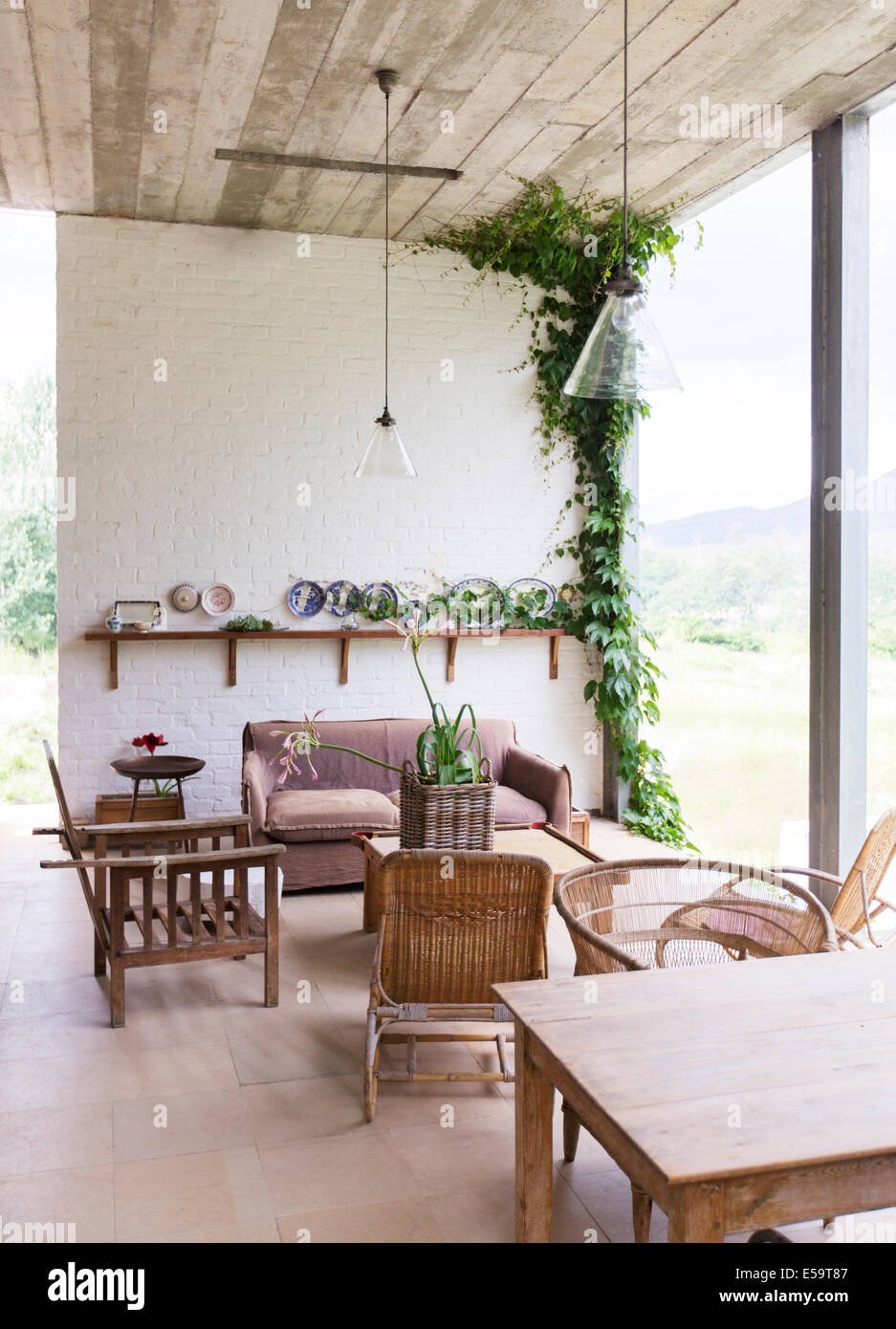 Sofa, chairs and table in rustic living room Stock Photo: 72131367 ...