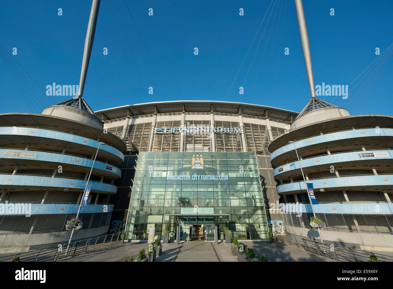 An external view of the Etihad Stadium, home of Barclays Premier League club Manchester City Football Club (Editorial - Stock Image