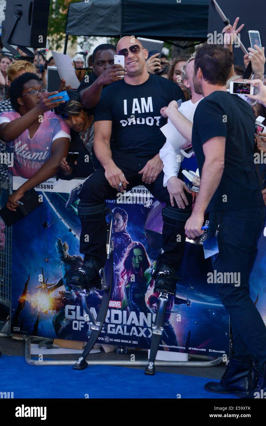 Actor Vin Diesel on stilts attends the European Premiere of Guardians of the Galaxy on 24/07/2014 at Empire Leicester - Stock Image