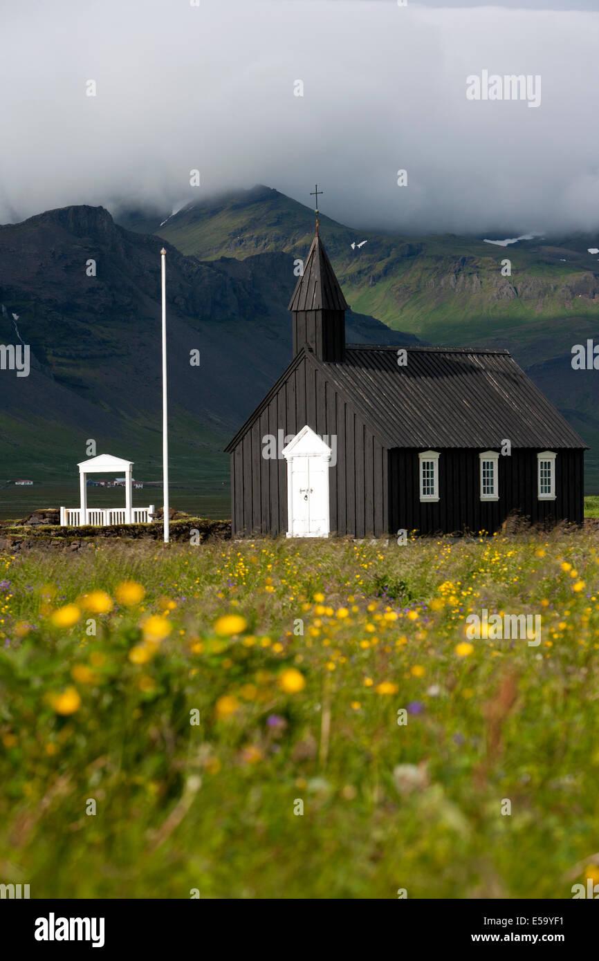 Budir Church - Snaefellsnes Peninsula - West Iceland - Stock Image