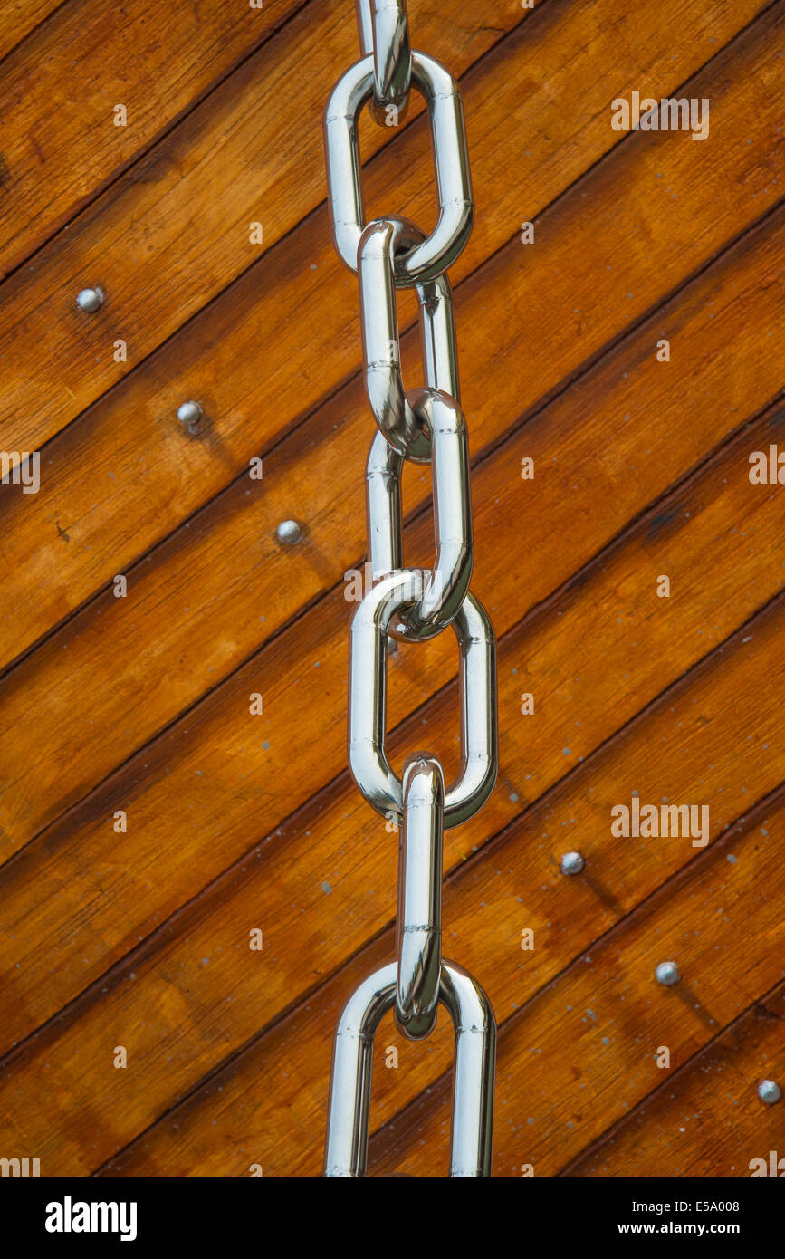 Anchor chain for interpreter ship models  in Thailand. - Stock Image