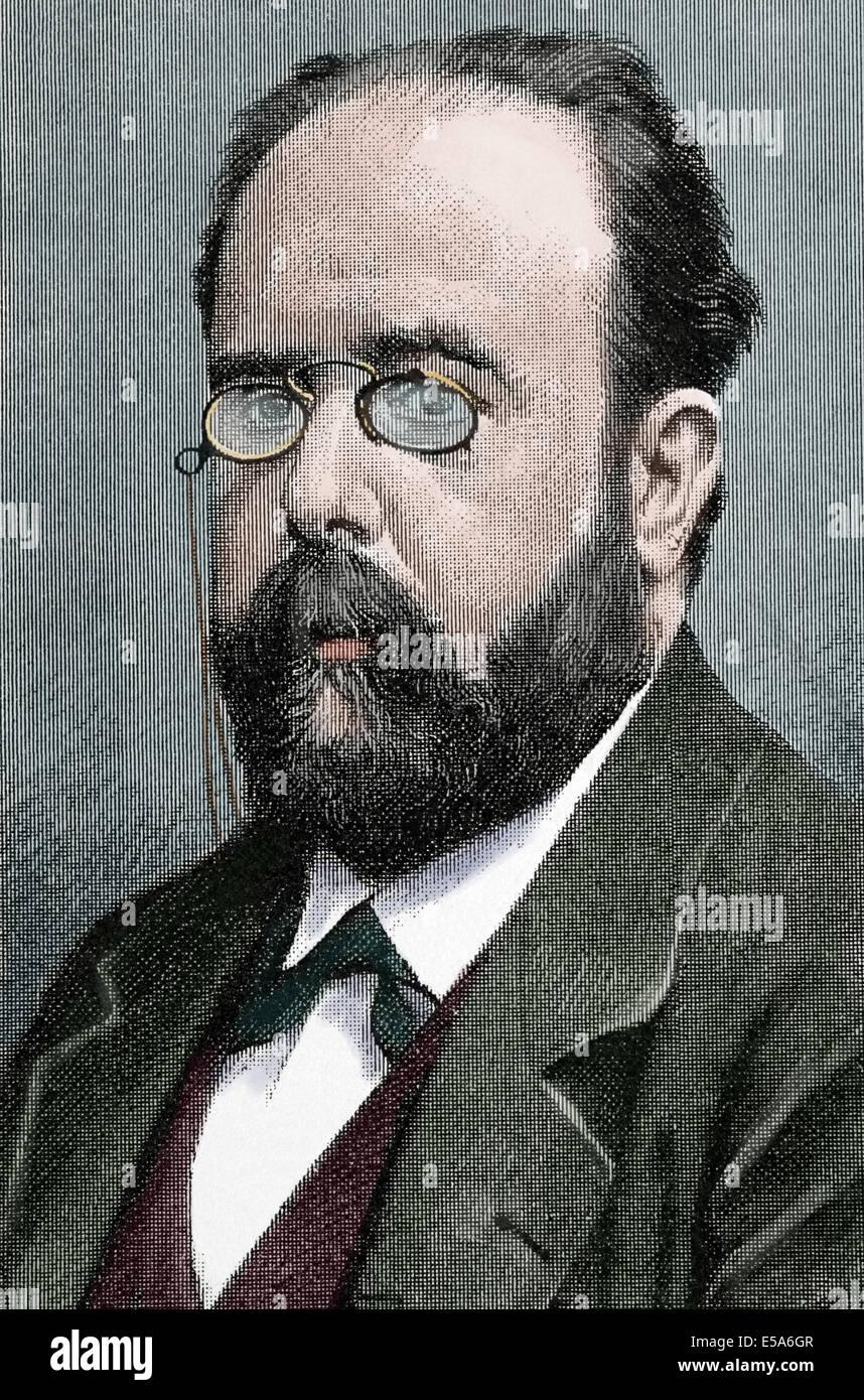 Teodoro Llorente Olivares (1836-1911).  Spanish writer. Colored engraving by P. Ross. La Ilustration Catalana, 1893. - Stock Image