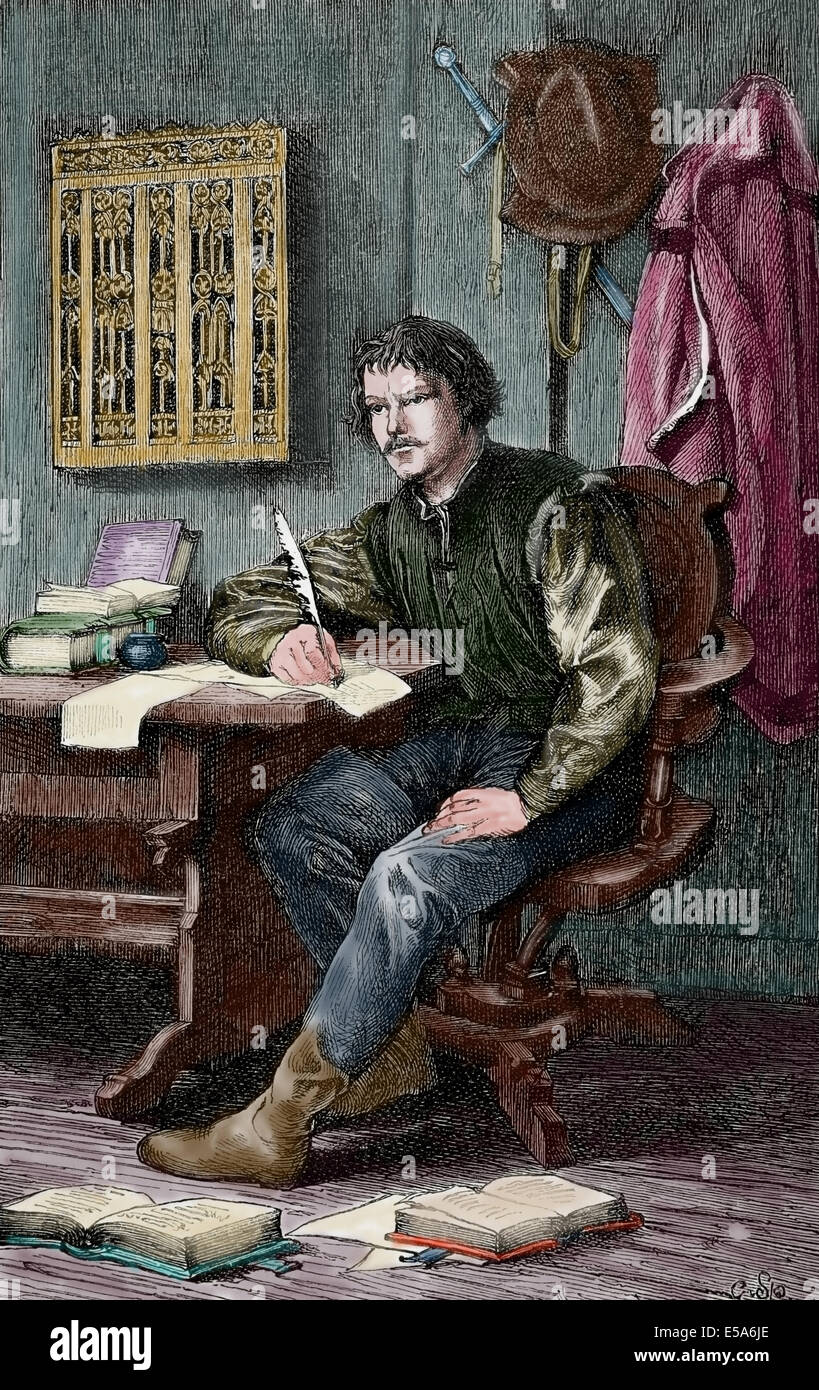 Martin Luther, (1483-1546). German reformer. Luther in Warburg castle. Colored engraving. - Stock Image