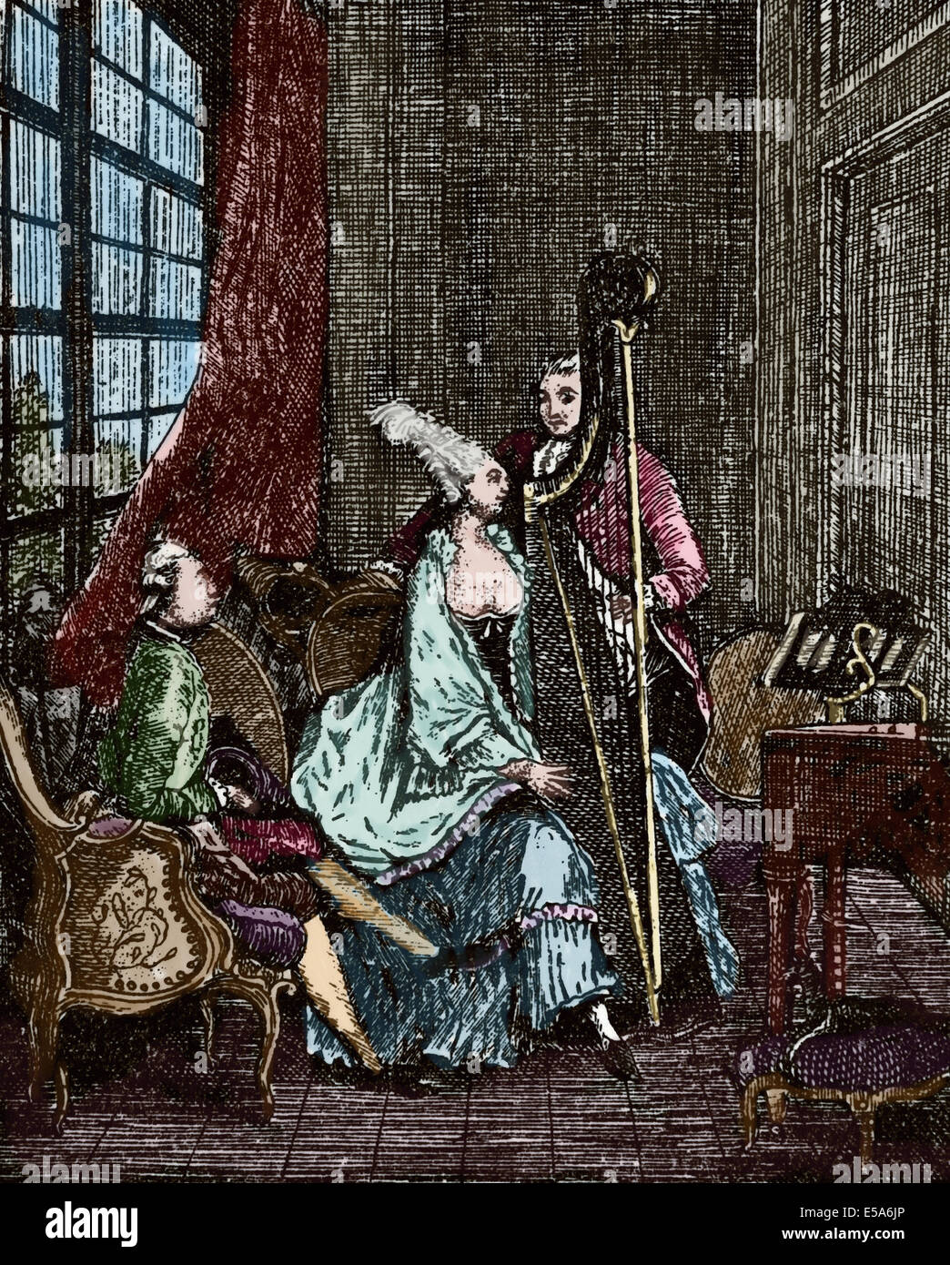 Society. 18th century. Musician. Harpist. Engraving. Colored. - Stock Image