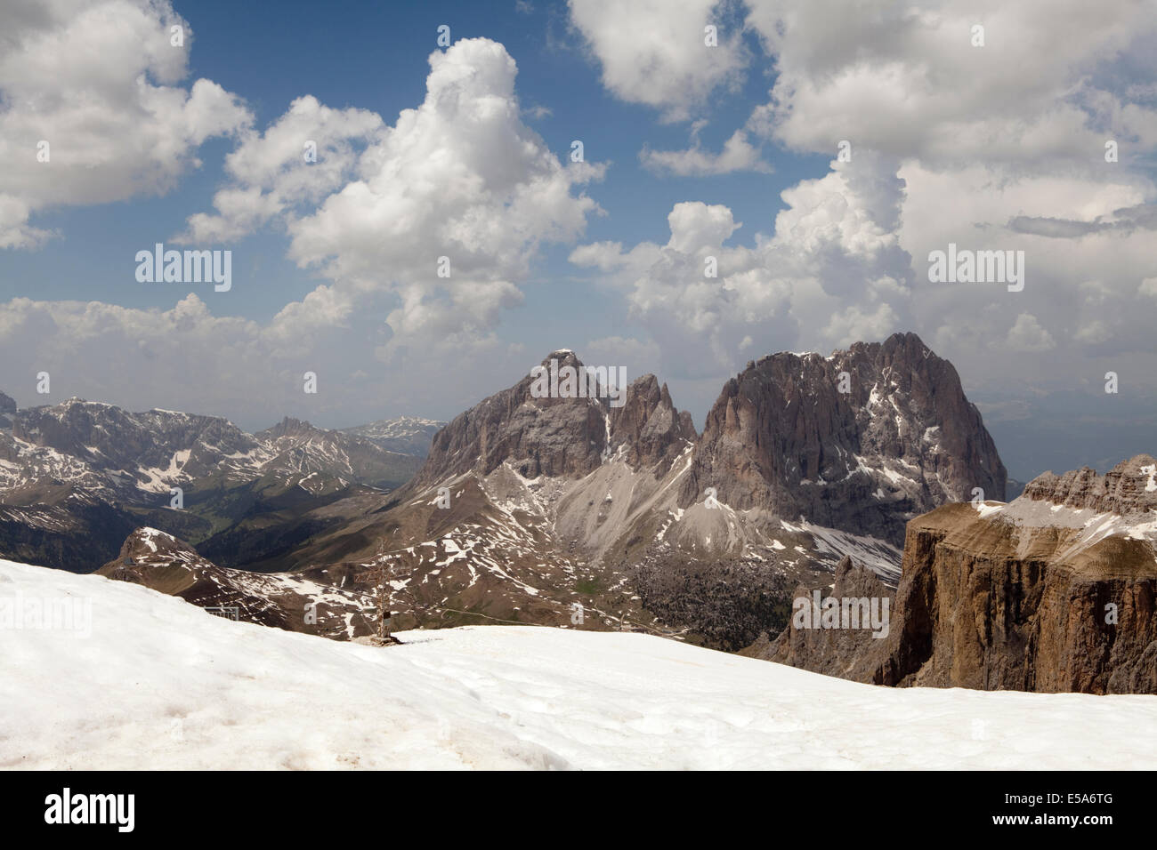 The Dolomite mountains viewed from La Terraza Delle Dolomiti, a restaurant reached by cable car. Pordoi Pass, Italy - Stock Image
