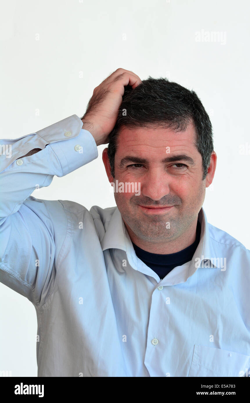 Man thinking face expression. Male emotional expression on white background. Concept photo of thoughts, worries, - Stock Image