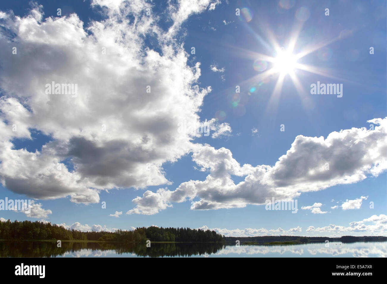 Lake scenery in summer in Finland - Stock Image