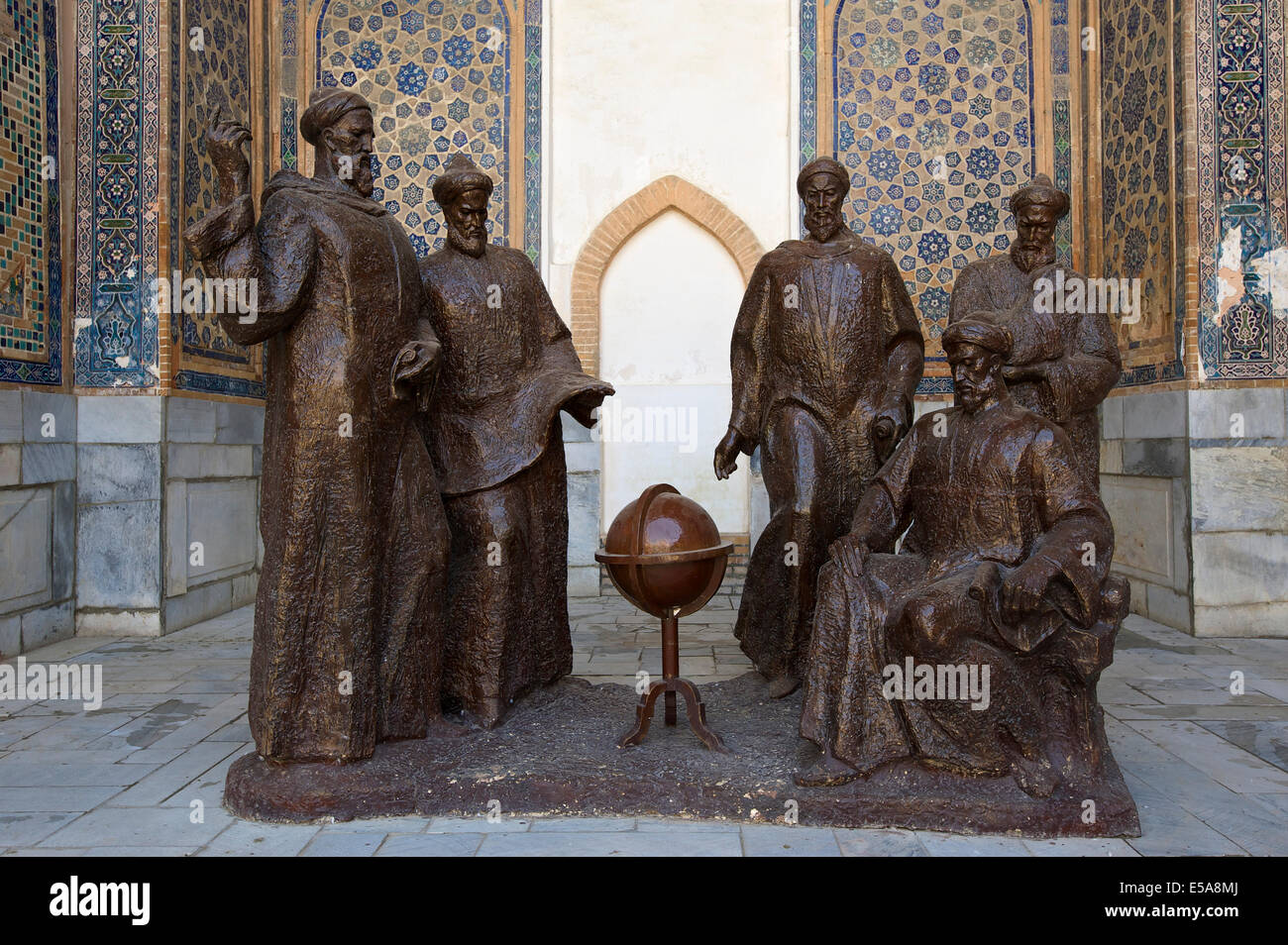 Ulugh Beg and other astronomers in a discussion, group of sculptures, Registan, Samarkand, Uzbekistan - Stock Image