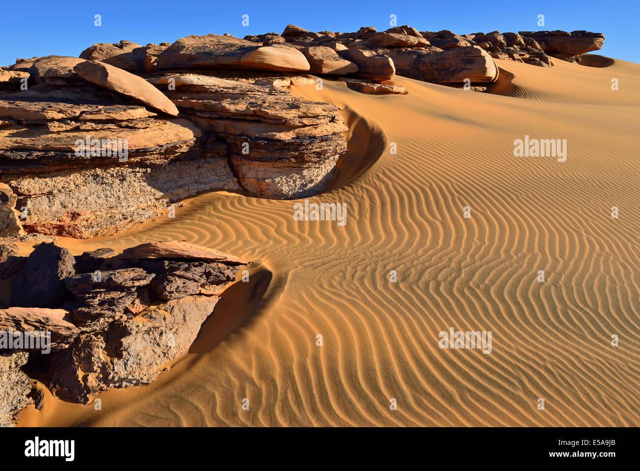 Bicoloured Dunes Noires, sand dunes on Tadrart plateau, Tassili n'Ajjer National Park, Unesco World Heritage Site, Stock Photo