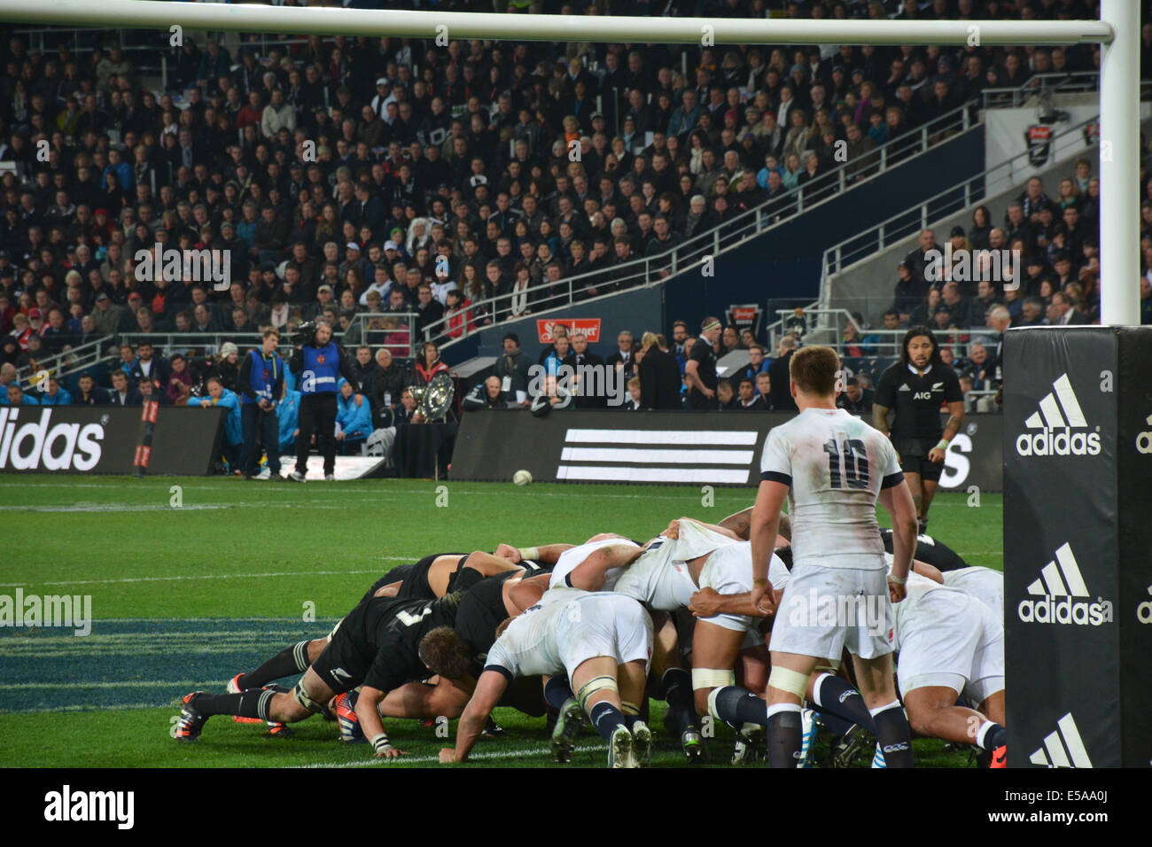 Rugby scrum during the All Blacks Vs England game in the Forsyth Barr Stadium, Dunedin,  played on June 14, 2014 - Stock Image