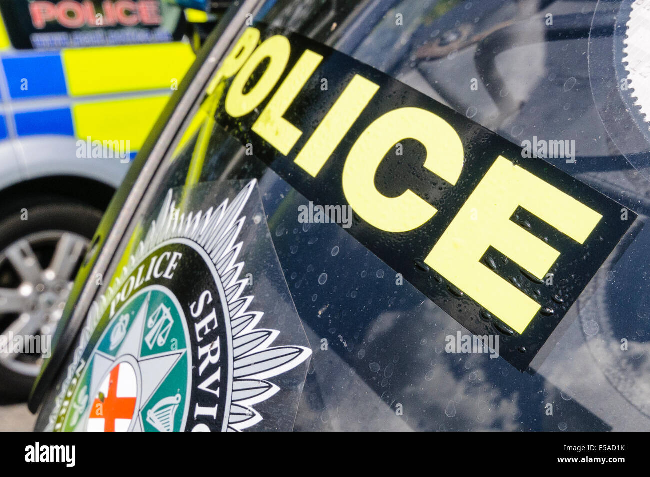 Lisburn, Northern Ireland. 25th July, 2014. - 'Police' on the front of a motorcycle Credit:  Stephen Barnes/Alamy - Stock Image